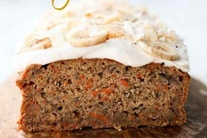 """Pinterest graphic of a cake with the text overlay """"banana and carrot vegan cake."""""""