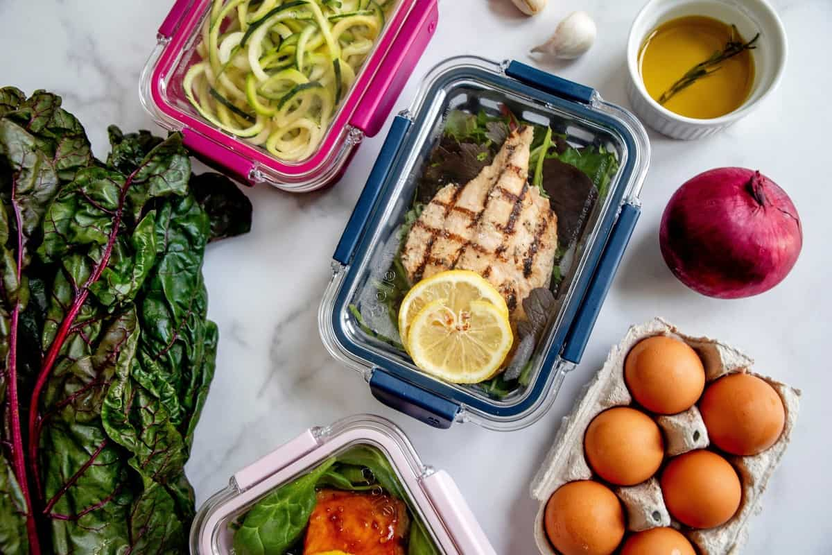Meal prepped food for intuitive eating weight loss.