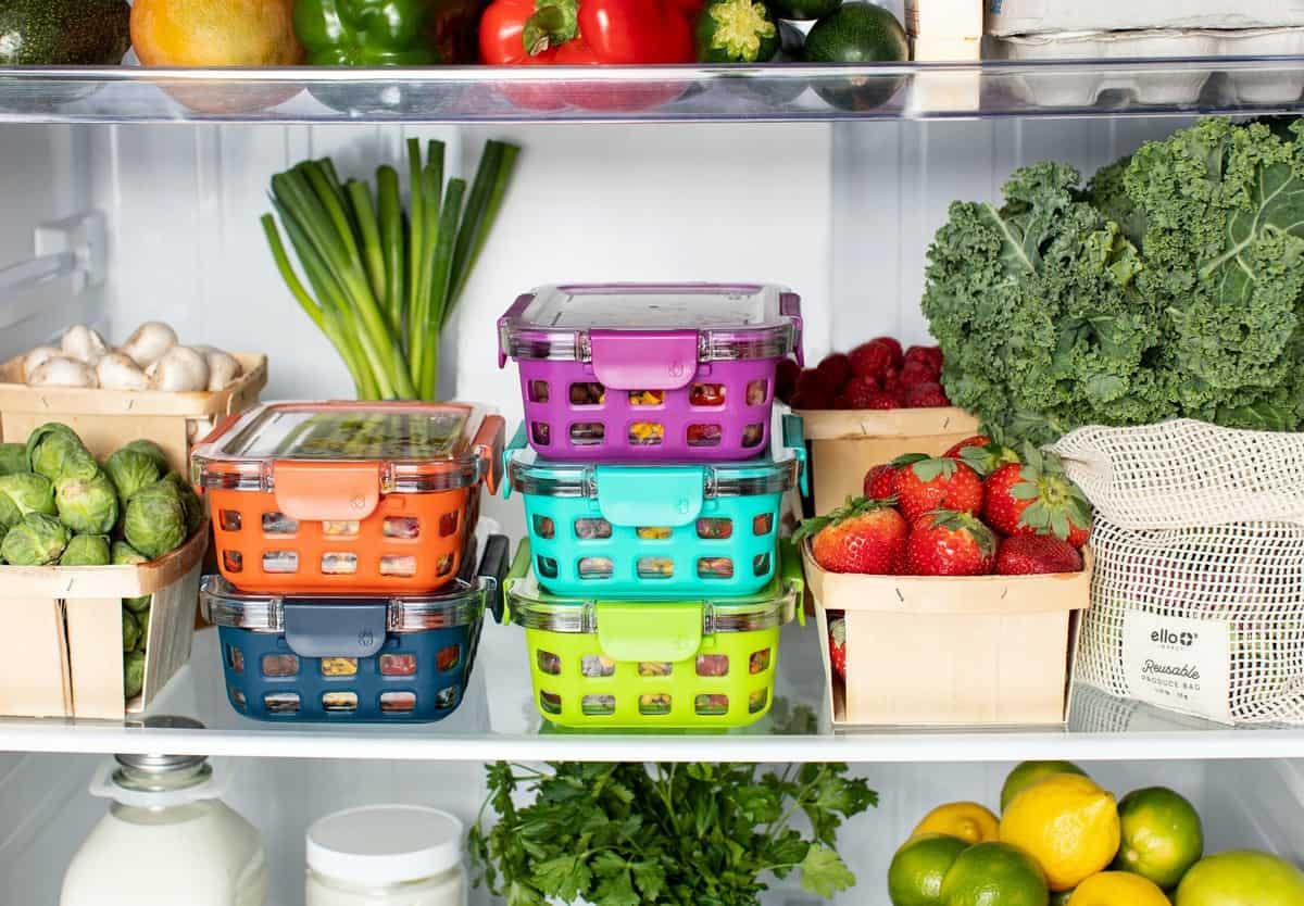 Prepped food in an organized fridge.