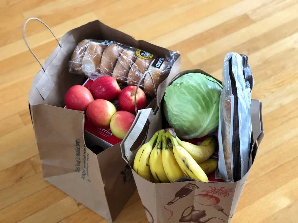 Two grocery bags full of fresh food.