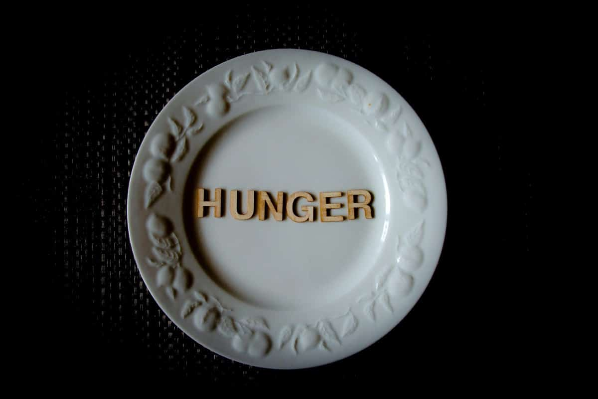 """A white plate with the words """"hunger"""" spelled across it."""