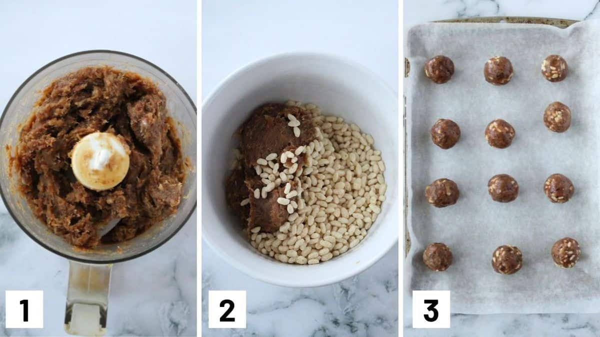 Set of three photos showing how to blend and mix the ingredients and roll them into a ball.