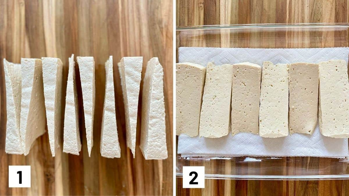 Set of two photos showing tofu cut and pressed.