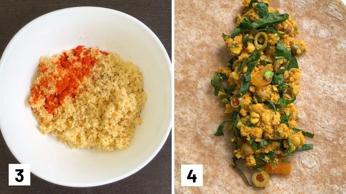 Set of two photos that show the couscous seasoned then the filling added to the wrap.