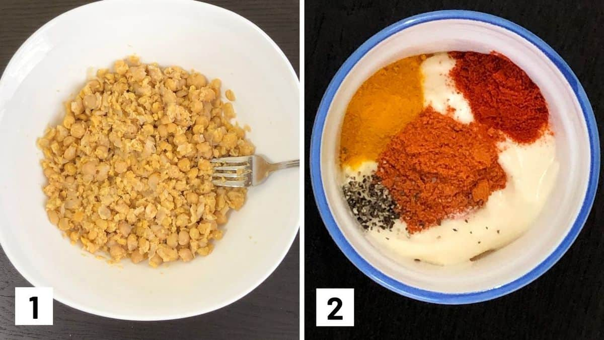 Set of two photos showing chickpeas being mashed and mayo being seasoned.