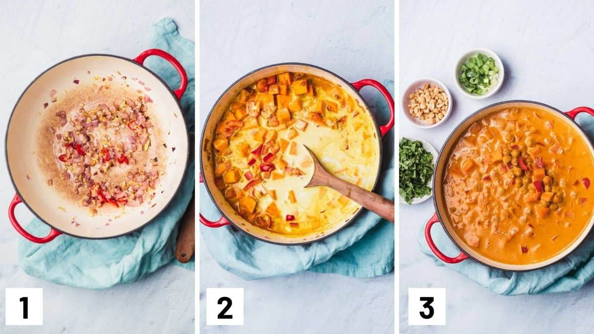 Set of three photos showing a dutch oven with aromatics sauteed, ingredients added, and simmered.