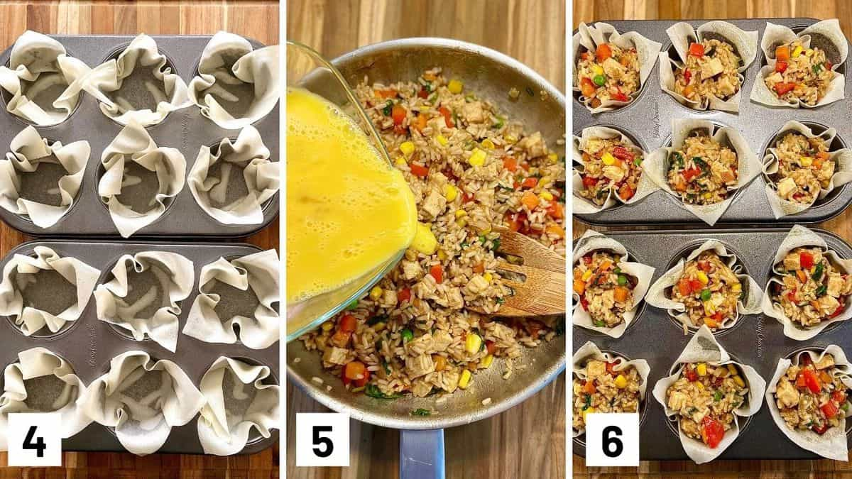 Set of three photos showing wonton wrappers in a muffin tin, egg added to rice mixture, then transferred to the wonton cups.