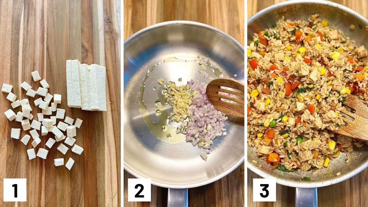 Set of three photos showing tofu cut into cubes, aromatics sauteed, and the rest of the ingredients added to the pan.