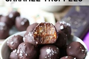 """Pinterest graphic of a bowl of truffles with the text overlay """"Vegan + No Added Sugar Caramel Truffles."""""""