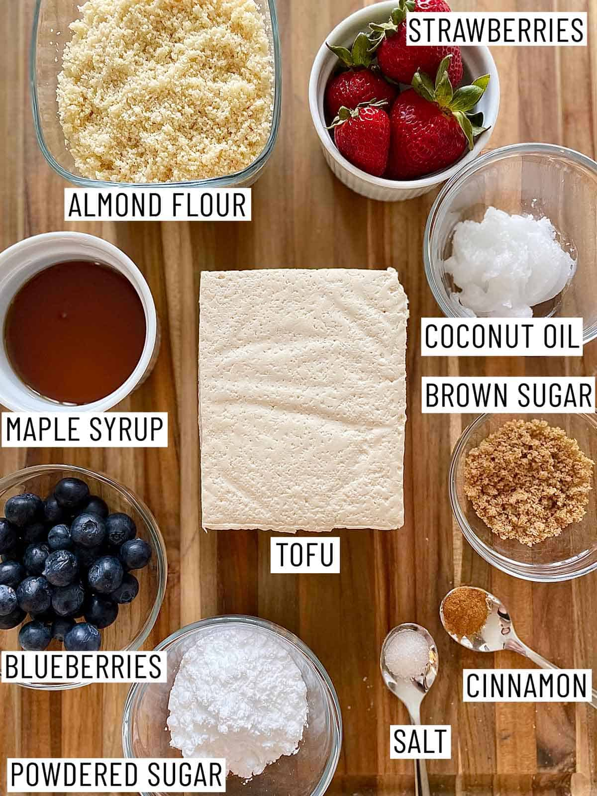 Ingredients needed to make vegan low carb french toast.