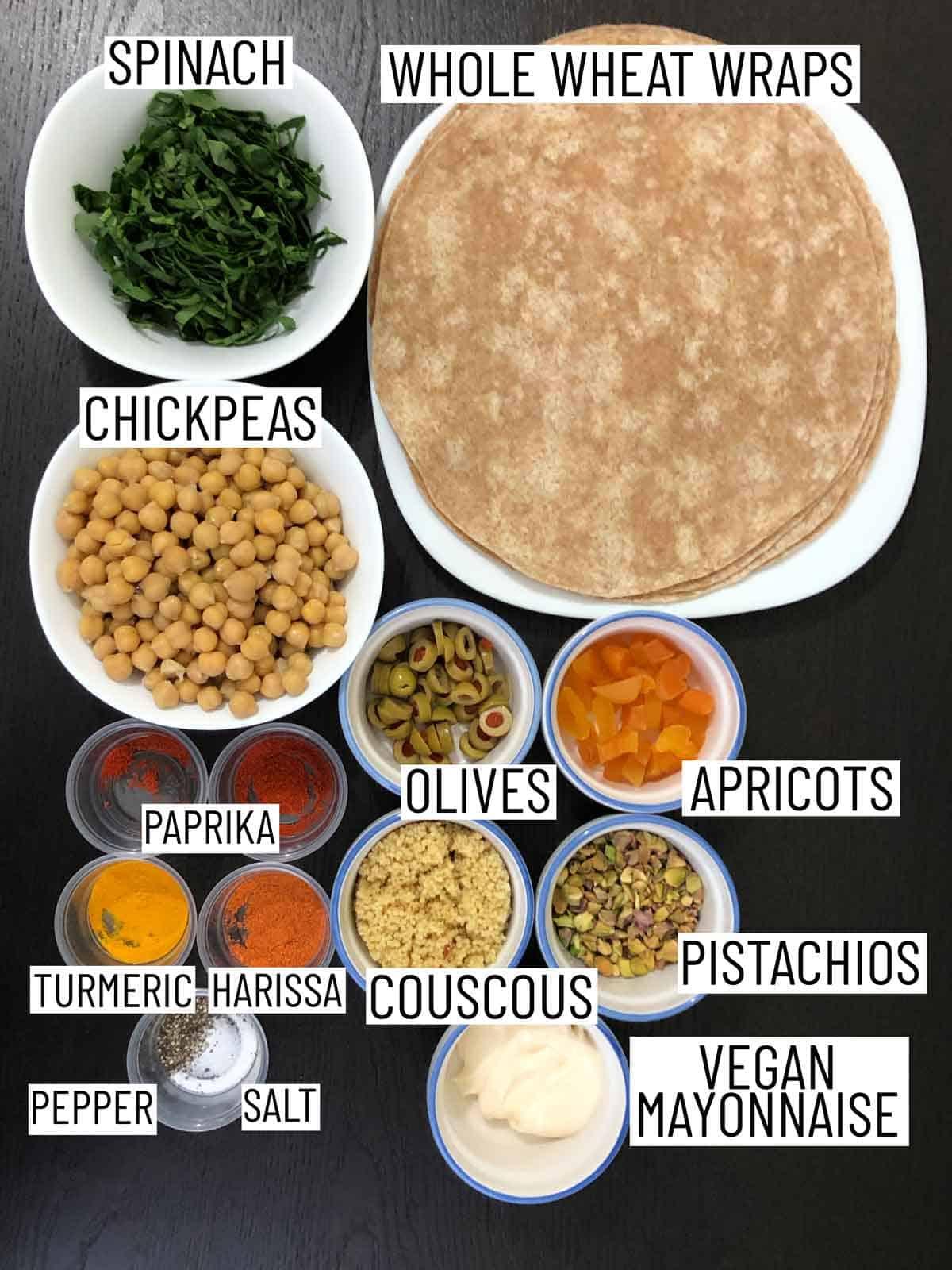 Ingredients needed to make vegan chickpea salad wraps.