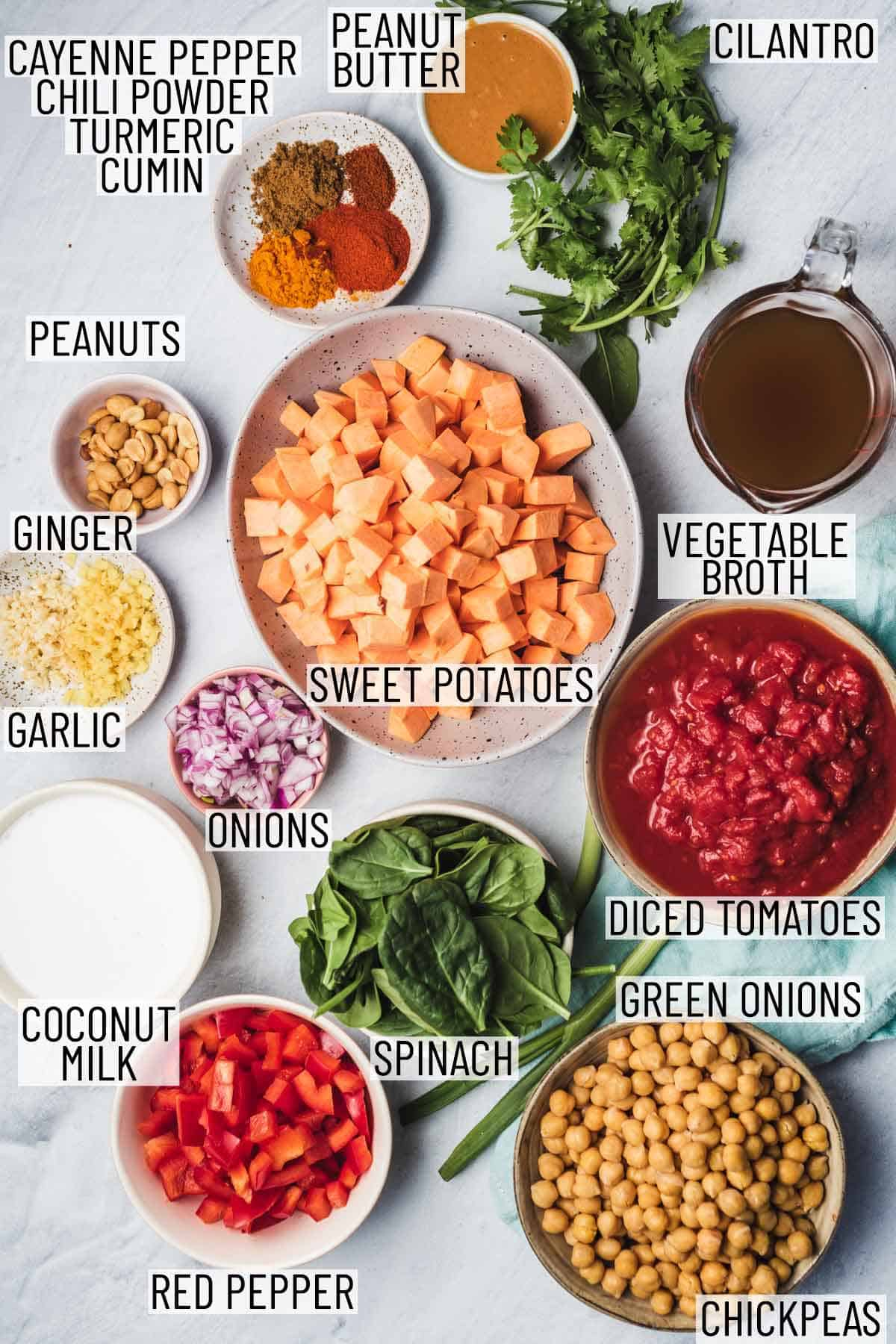Ingredients needed to make sweet potato peanut soup.