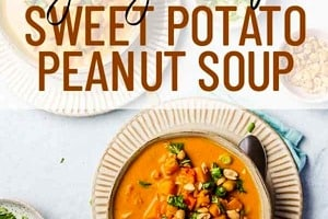 """Pinterest graphic of a overhead view of two bowls of soup with the text overlay """"vegan, gluten-free sweet potato peanut soup."""""""