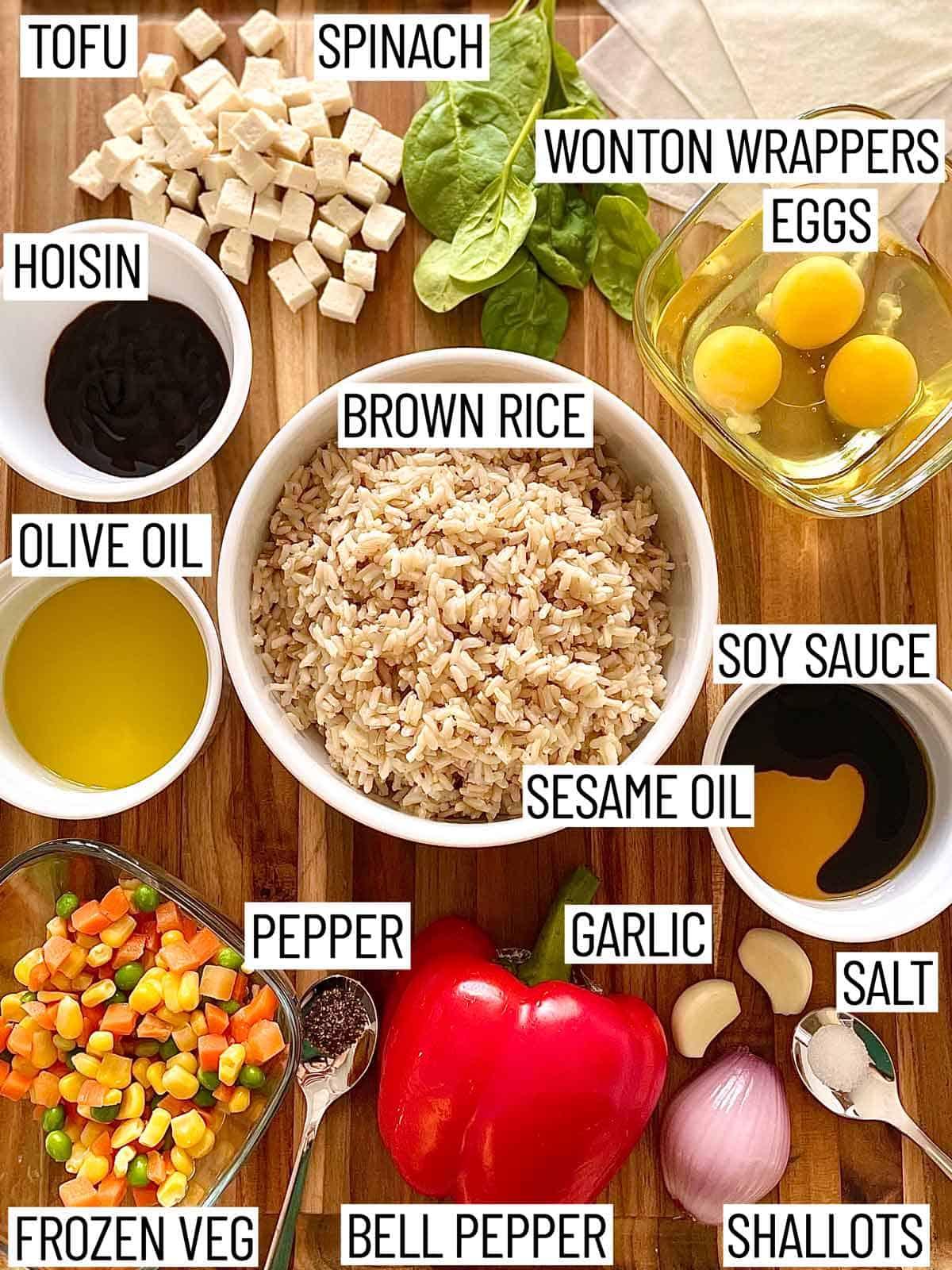 Ingredients needed to make tofu fried rice wonton cups.