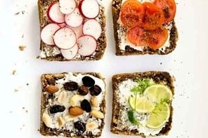 """Pinterest graphic of six piece of toast with toppings with the overlay text """"weight loss with intuitive eating."""""""