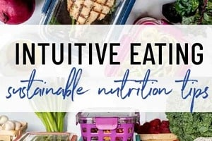 """Pinterest graphic of meal prep containers with the text overlay """"intuitive eating sustainable nutrition tips."""""""