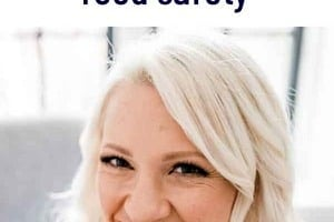 """Pinterest graphic of a woman eating with the text overlay """"Registered Dietitian's guide to pregnancy food safety."""""""