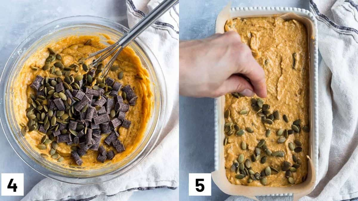Two side by side images showing how to add in the chocolate chips and sunflower seeds and layer in a baking pan.