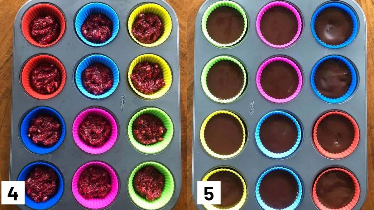 Two side by side images showing how to prepare chocolate cups in silicone molds.