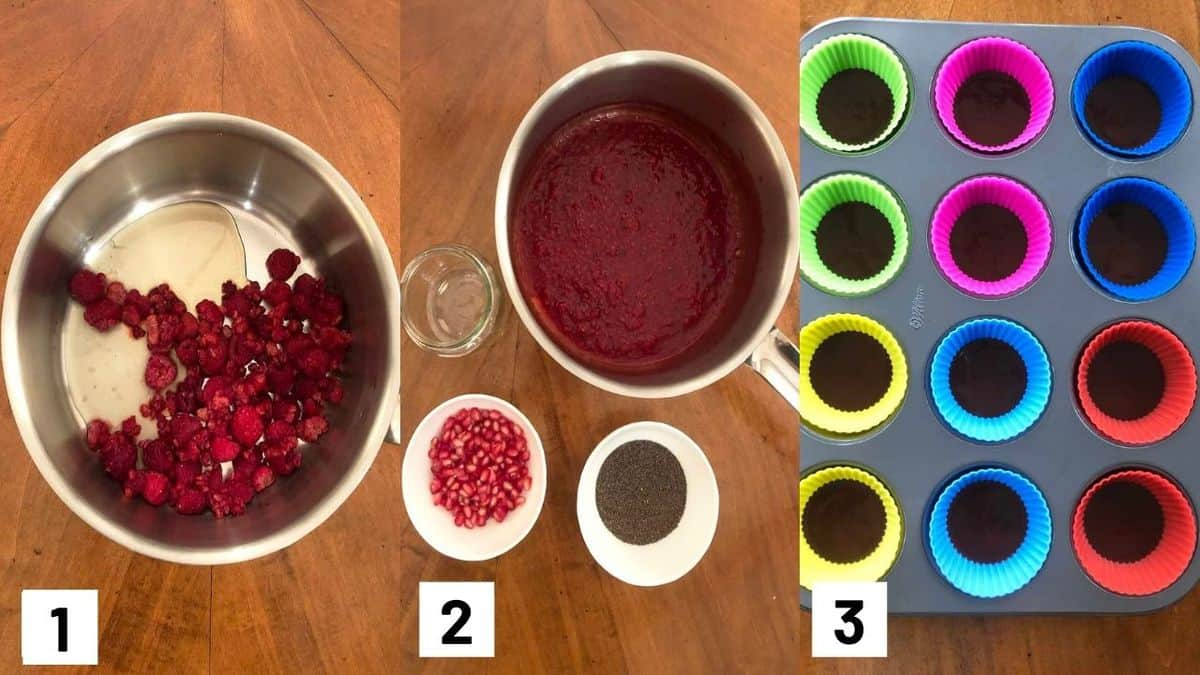 Three side by side images showing how to prepare chia jam for the filling.