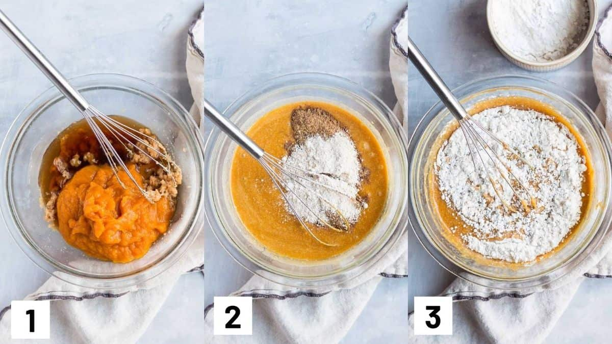 Three side by side images showing how to prepare batter.