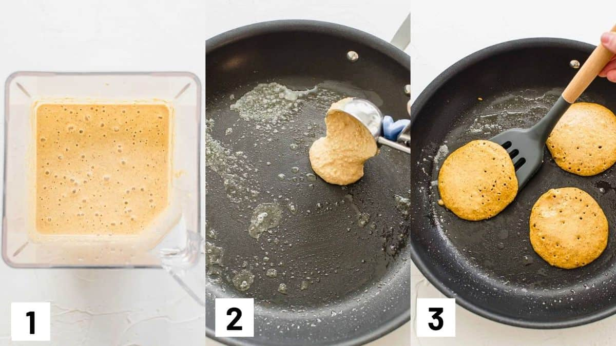 Three side by side images showing how to prepare pumpkin pancakes.