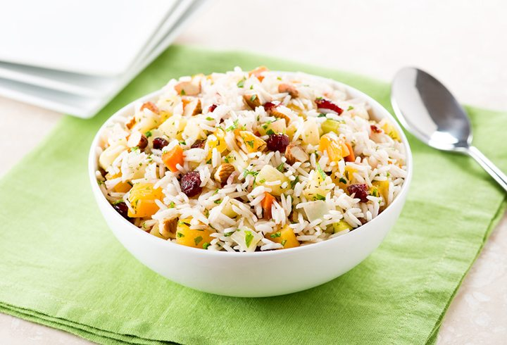 Healthy Holiday Rice Stuffing with Fruit & Nuts | Gluten Free