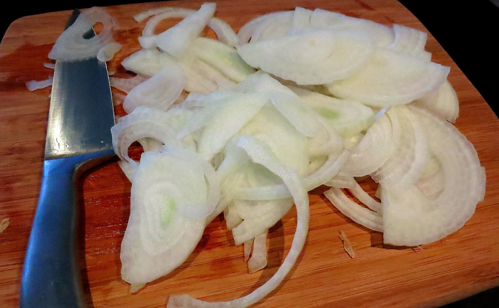 A close up of sliced onions.