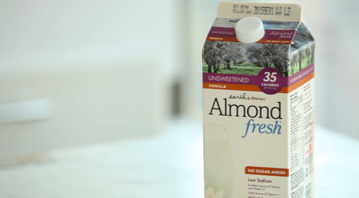 close up of a carton of almond milk