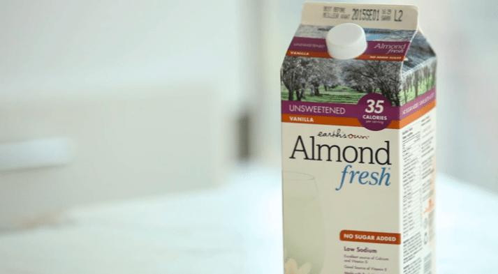 close up of a carton of almond milk