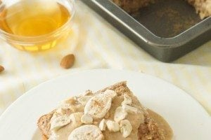 Gluten Free Baked Oatmeal with Banana Nut Sauce