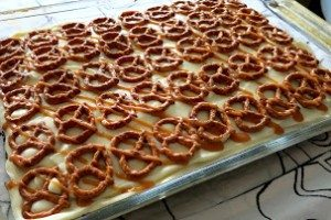 Caramel Pretzel Brownies with Cream Cheese Icing