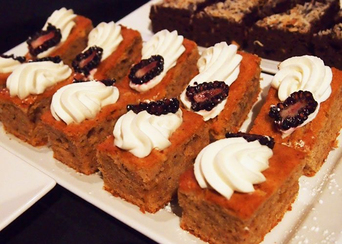 A plate of cake squares.