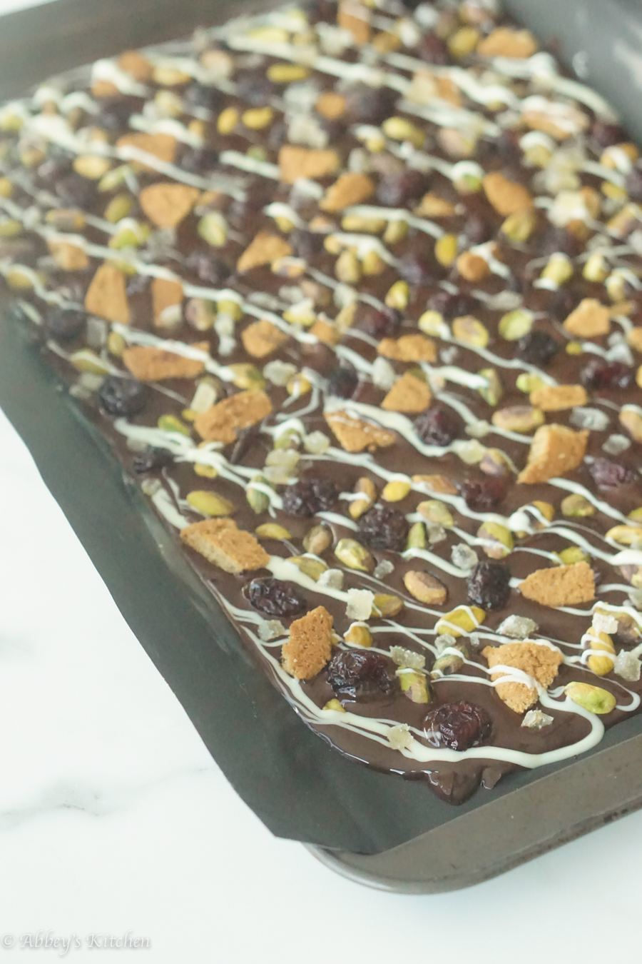 A sheet of chocolate bark before it sets.