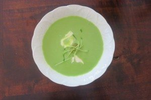 Cold Sweet Pea Soup with Savoury Mint Sorbet