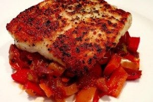 Pan-Seared Halibut with Tomato Bell Pepper Olive Ragu
