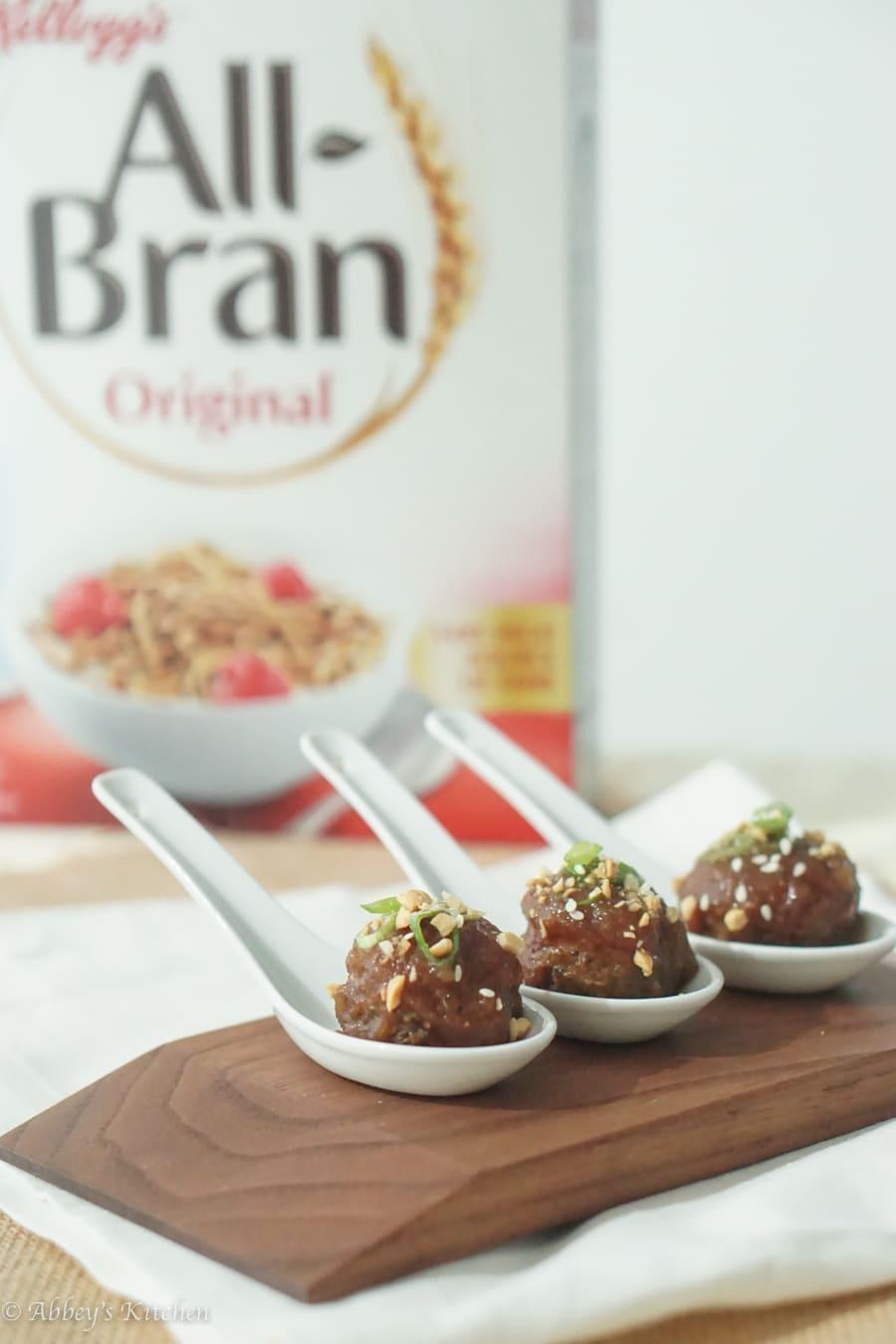 Healthy Cocktail Meatballs with Asian Hoisin Apple Glaze