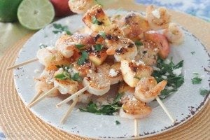 Healthy Grilled Shrimp Skewers with Honey Chili Peach
