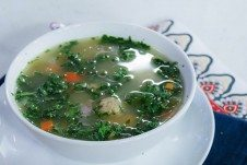 A healthy Matzo Ball Soup Recipe with Kale, Chicken, Sweet potatoes and Ginger as a natural homemade Cold & Flu remedy this season.