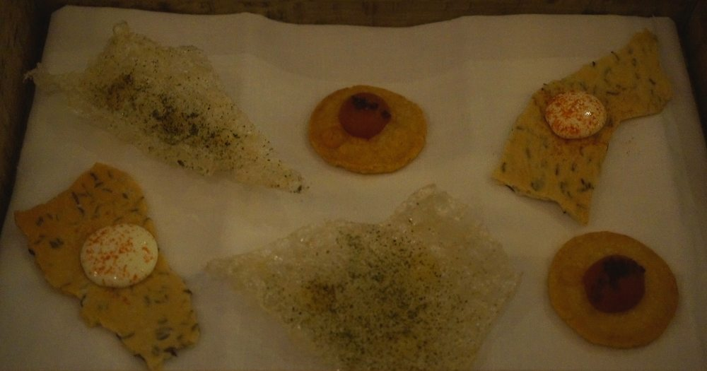 Pork Crackling; Parmesan Biscuit with Tomato and Anchovy; Caraway Cracker with Whipped Smoked Ricotta.