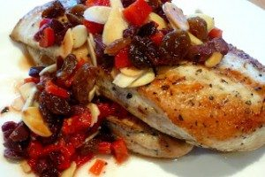 Chicken with Almond, Olive, and Roasted Red Pepper Relish