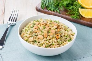 Gluten Free Quinoa Salad with Almonds and Fresh Herbs | Dairy Free, Make Ahead