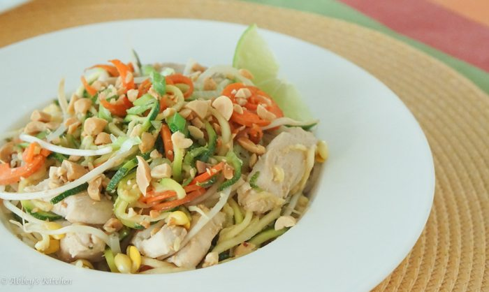 Healthy Pad Thai with Zucchini Noodles - Low Carb & Gluten Free